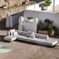 Aluminium 3-zits buitenbank met poef en chaise longue - Filomena