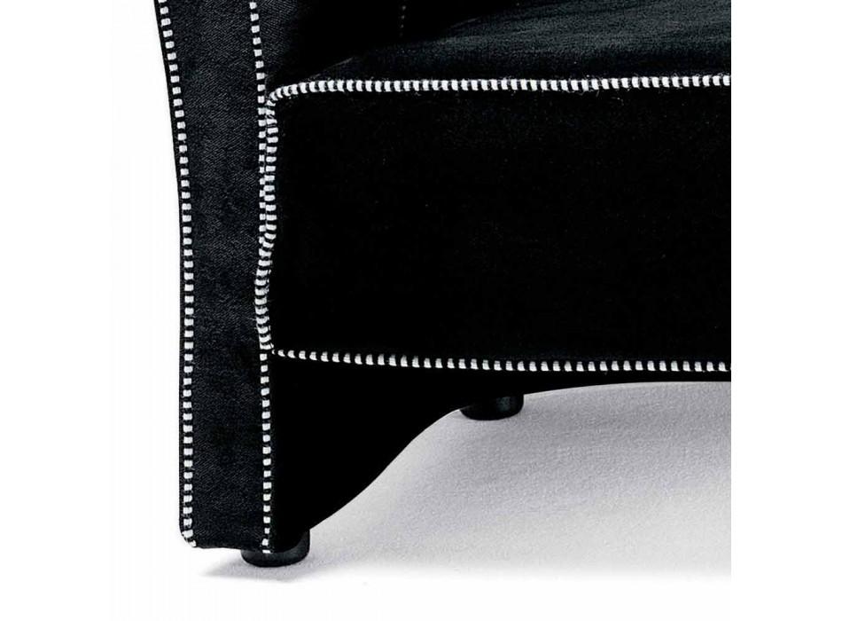 3-zitsbank bekleed met fluweel met witte stiksels Made in Italy - Caster
