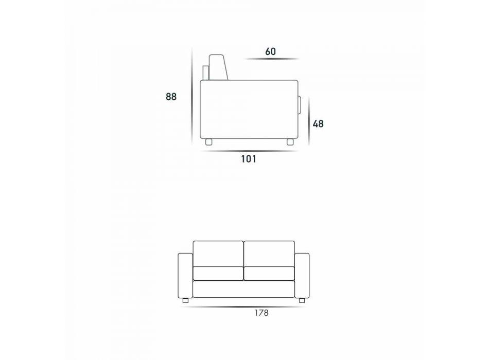 Moderne 2-zits maxi-bank in eco-leer / stof gemaakt in Mora, Italië