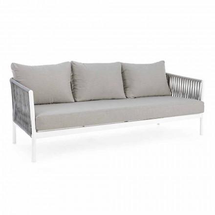 Homemotion - Rubio 3-zits design buitenbank in wit en grijs