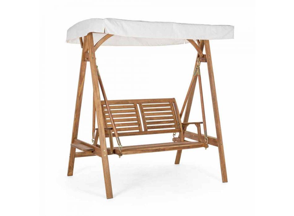 2-zits schommelbank in acaciahout met wit canvas - Roxen