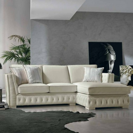 Corner sofa in wit leer klassieke Theseus, made in Italy