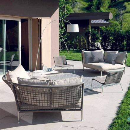 Circulaire tuinbankstof duifgrijs Made in Italy Design - Ontario4