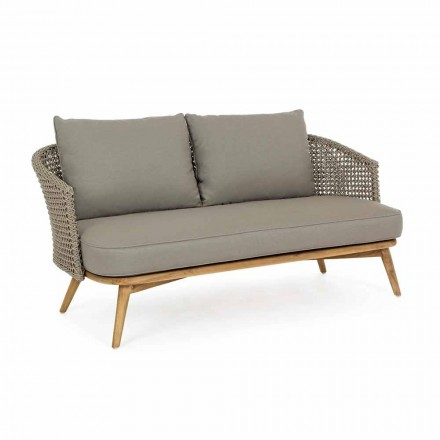 Buitenbank 2 of 3 zitplaatsen in hout en duifgrijze homemotion-stof - Luana