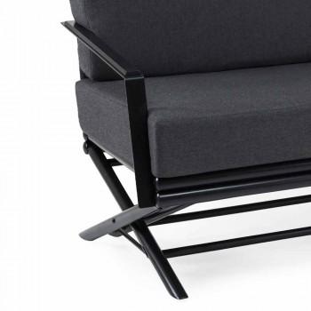 3-zits buitenbank in natuurlijk hout of zwart en luxe stof - Suzana