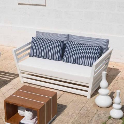 2-zits tuinbank in wit of zwart aluminium en blauwe kussens - Cynthia