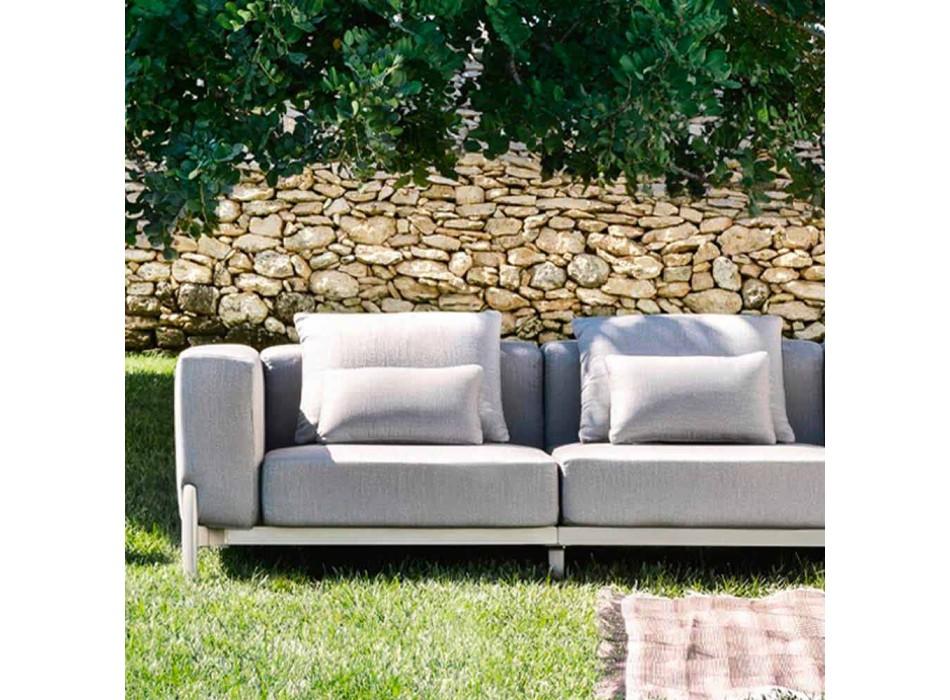 3-zits tuinbank met verlenging, ontwerp in aluminium en stof - Filomena