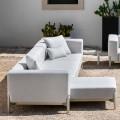 3-zits tuinbank met chaise longue van aluminium en stof - Filomena