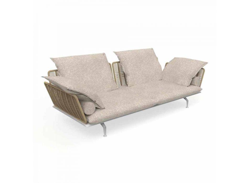 3-zits tuinbank in gewatteerde stof en aluminium - Cruise Alu Talenti