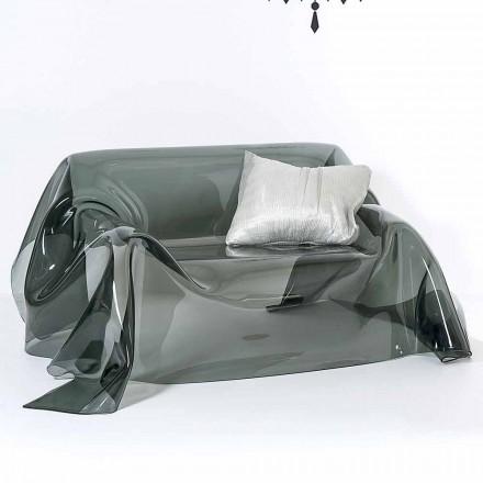 Sofa met een modern design in Jolly gerookte plexiglas, made in Italy