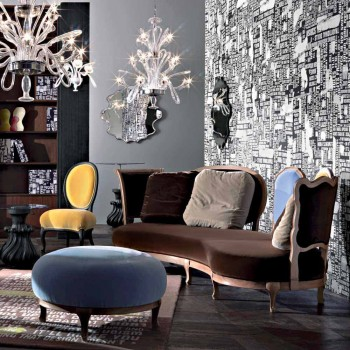 Sofa luxe design, 5 Massief houten rug, made in Italy, Manno