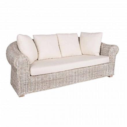 Sofa voor binnen of binnen 3 zitplaatsen in rotan Homemotion - Francioso