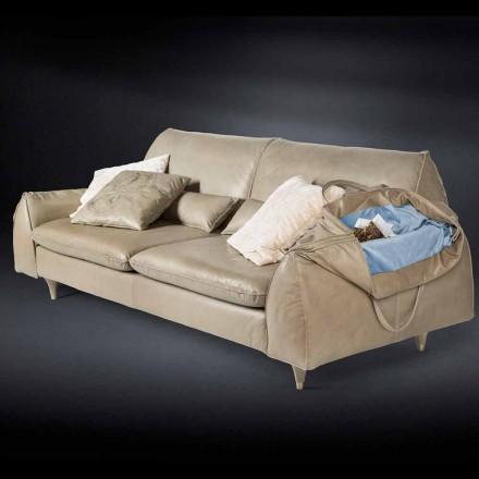 Massief hout en lederen sofa met armleuningen Eve voor objecten