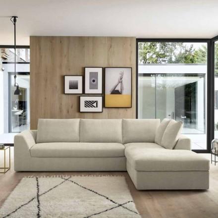 Design hoekslaapbank in beige stof Made in Italy - Ortensia