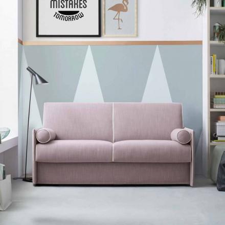 Slaapbank in lichtroze stof met witte rand Made in Italy - Poppy