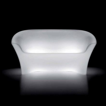 Heldere buitenbank in polyethyleen met LED-licht Made in Italy - Conda