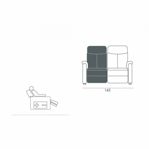 Gemotoriseerde 2-zitsbank met 1 elektrische zitting Gelso, modern design