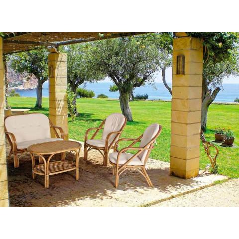 2-zits buitenbank voor tuin in witte rotan kussens - Maurizia