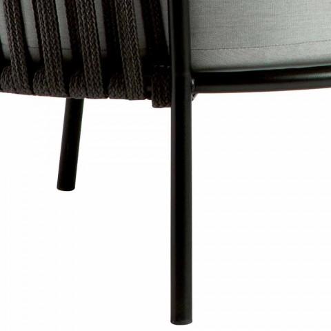 3-zits buitenbank van metaal, touw en stof Made in Italy - Mari