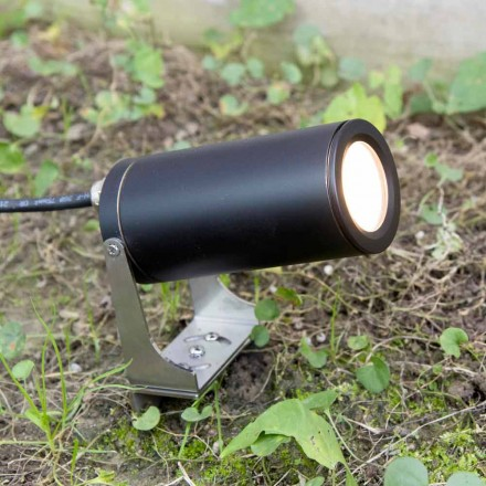 Tuinspot in zwart geanodiseerd aluminium met LED Made in Italy - Forla