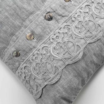 Bedkussens Kussensloop in grijs linnen met Italiaans luxe Synergy-kant - Stego