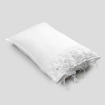 Linnen kussensloop met wit kant voor luxe designbed Made in Italy - Kiss