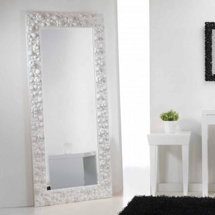 Grote witte spiegel vloer / muur met houten frame van de bloem