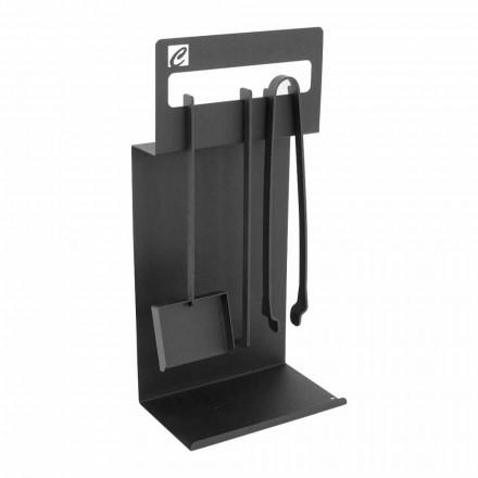 Set ontwerptools voor open haard in zwart staal gemaakt in Italië - Ostro