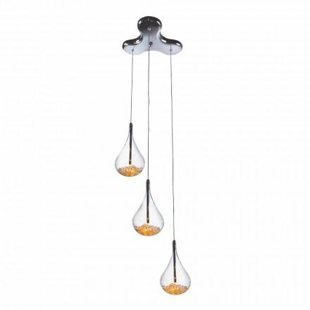 Hanglamp met 3 of 4 lampen in borosilicaatglas en metaal - Peren