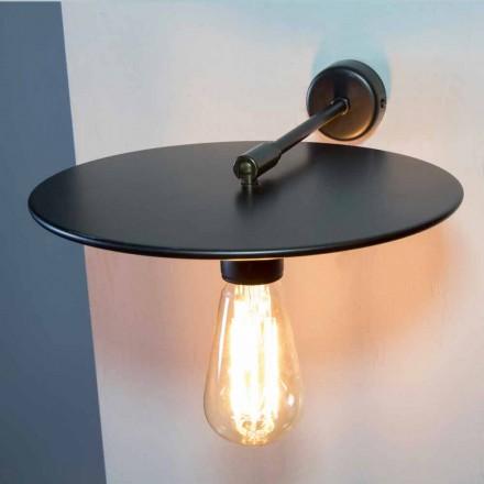 Handgemaakte wandlamp in zwart ijzer of cortenstaal Made in Italy - Ufo