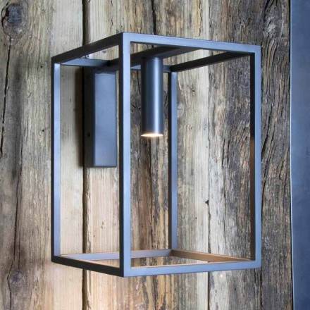 Buitenwandlamp van ijzer en aluminium met LED Made in Italy - Cubola
