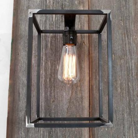 Handgemaakte wandlamp met zwarte ijzeren structuur Made in Italy - Cubola