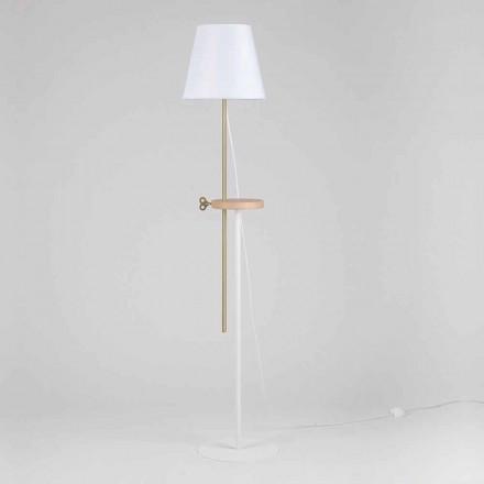 Design vloerlamp van staal, essenhout en messing gemaakt in Italië - Pitulla