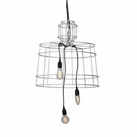 Hanglamp met 3 lampen in wit of natuurlijk metalen design - Stylus