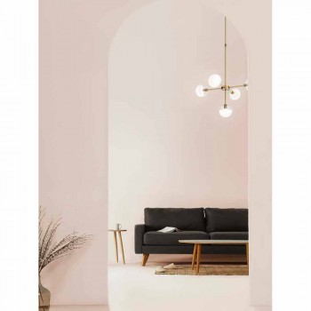 5-lichts hanglamp in natuurlijk messing en glas - Molecola van Il Fanale