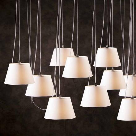 Hanglamp met 12 lampen met witte chromen luidspreker