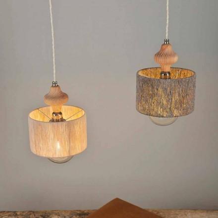Hanglamp met 2 lampen en houtinzet van Bois