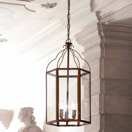 Hanglamp 3 lampjes koper en glas Turandot