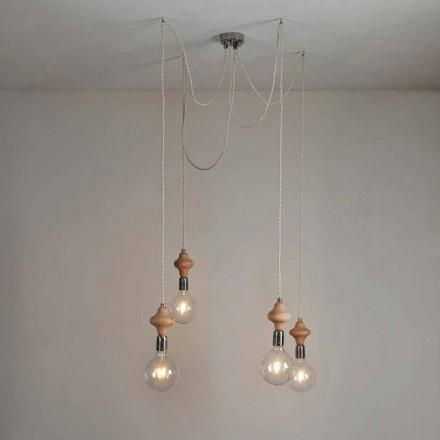 Hanglamp met 4 lampen met Bois houten element
