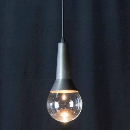 Handgemaakte hanglamp in zwart ijzer en glas Made in Italy - Suspence
