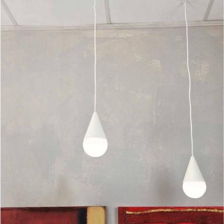 Witte hanglamp met 2 lichtpunten Drop, modern design