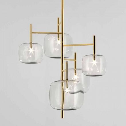 Hanglamp met glanzende metalen structuur Made in Italy - Donatina