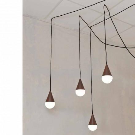 Design hanglamp met 4 lichtpunten Drop, corten kleur