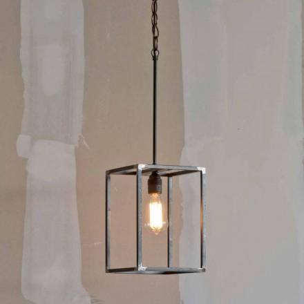 Handgemaakte ijzeren hanglamp met ketting Made in Italy - Cubola