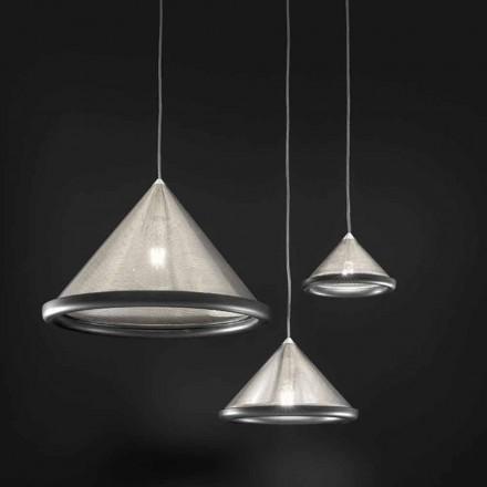 Hanglamp in roestvrij staal en keramiek - Tamiso Aldo Bernardi