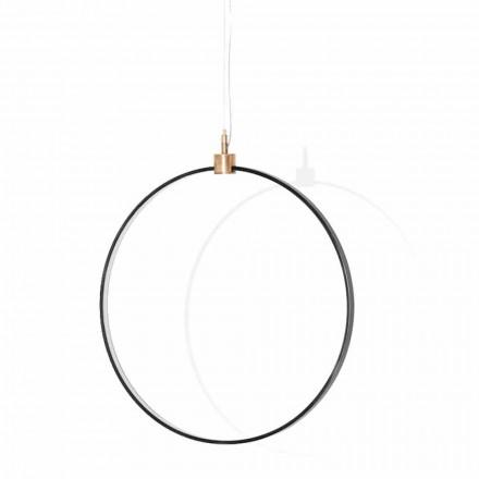 Hanglamp in zwart aluminium en natuurlijk messing Made in Italy - Norma