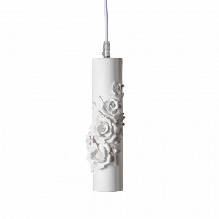 Hanglamp in mat wit keramiek met decoratieve bloemen - Revolution