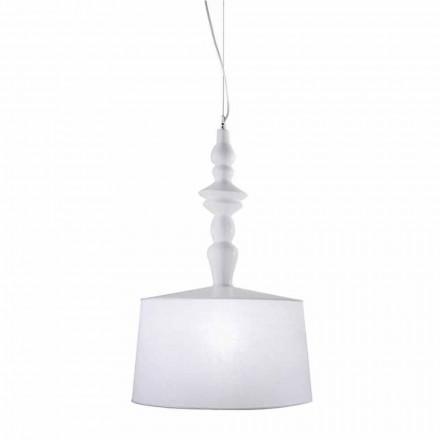 Hanglamp van wit keramiek. Kap in linnen kort ontwerp - Cadabra