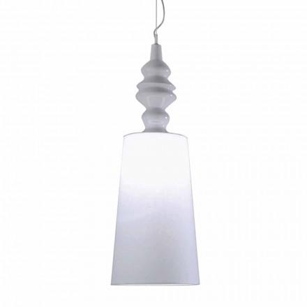 Hanglamp in wit keramiek Lampenkap in lang linnen design - Cadabra