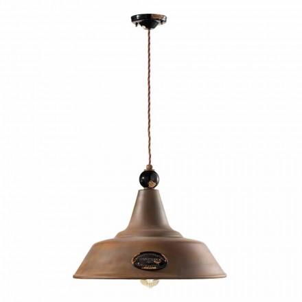 Lamp suspensie corten ijzer en keramiek Lois Ferroluce